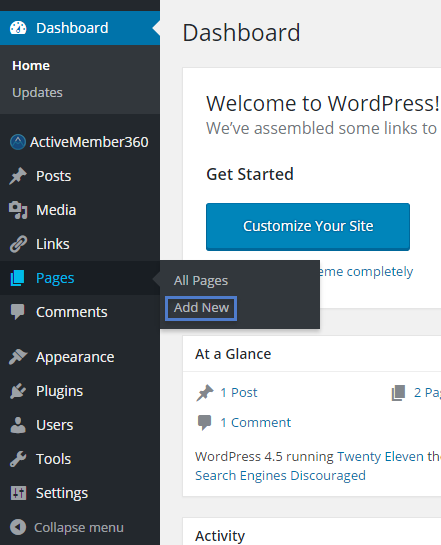Open the WordPress Dashboard