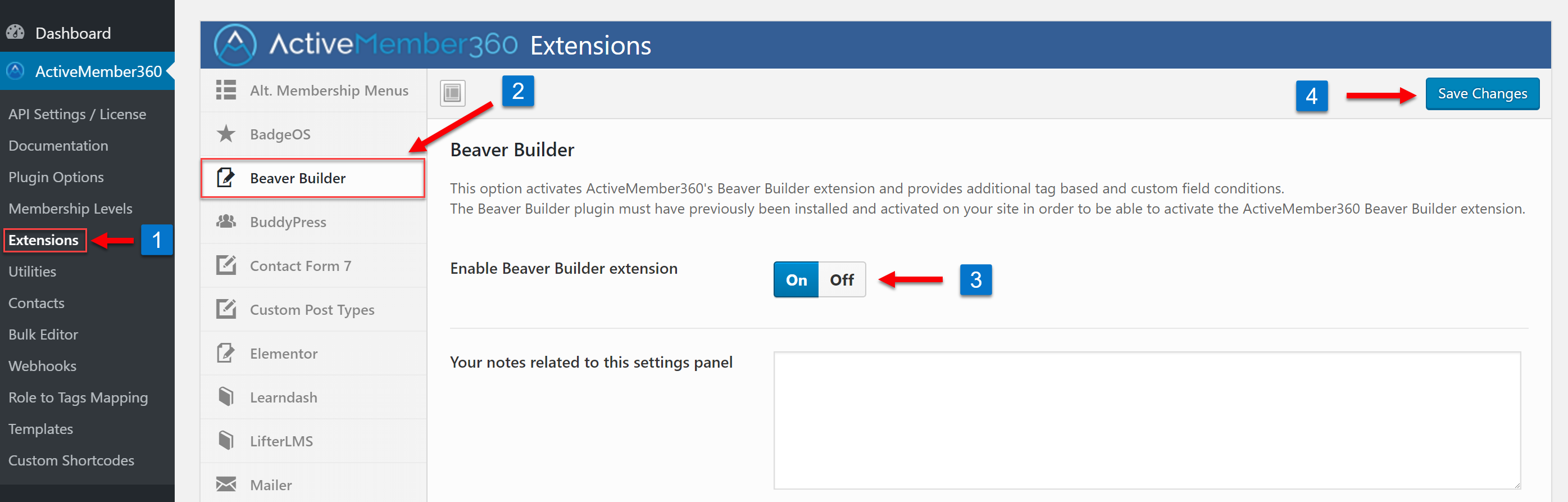 Enabling the Beaver Builder Extension