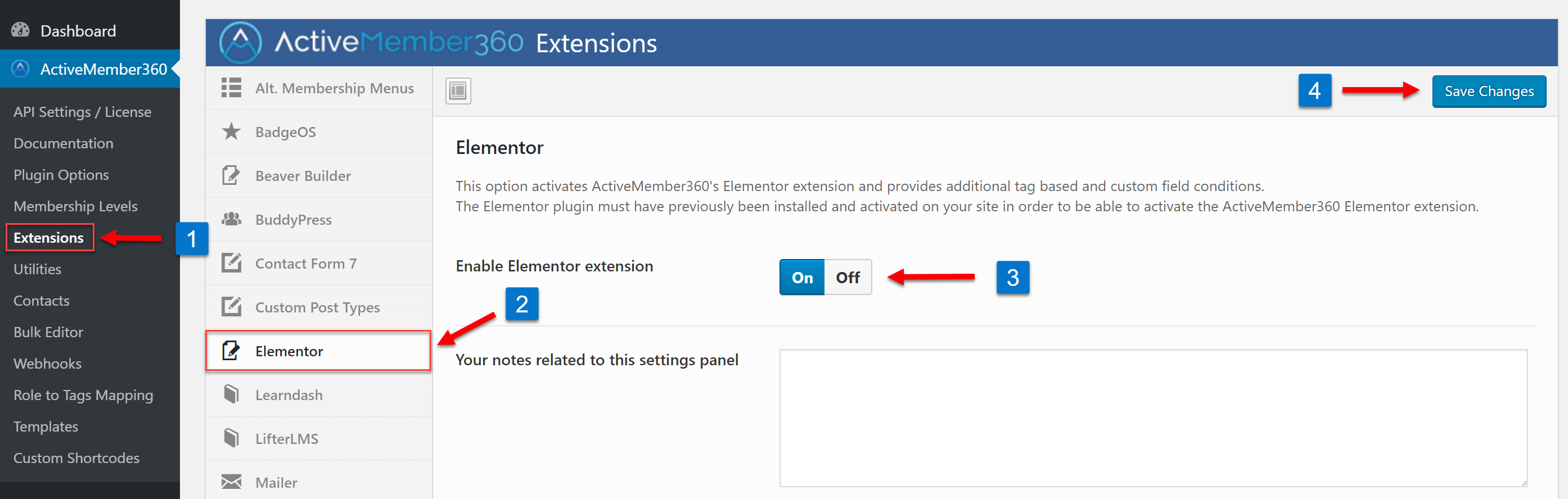 Enabling the Elementor Extension