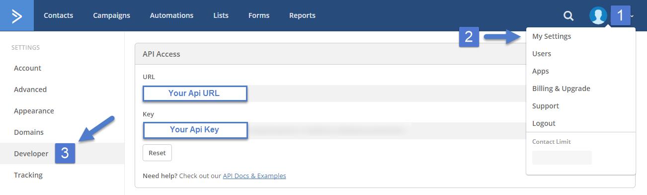 Find your API URL and API key