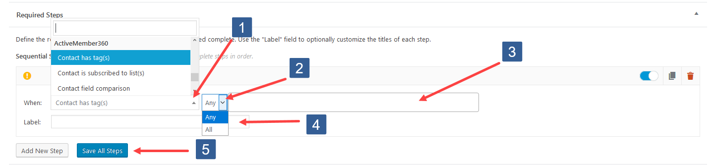 Configuring Add New Required Step For Contact Tag