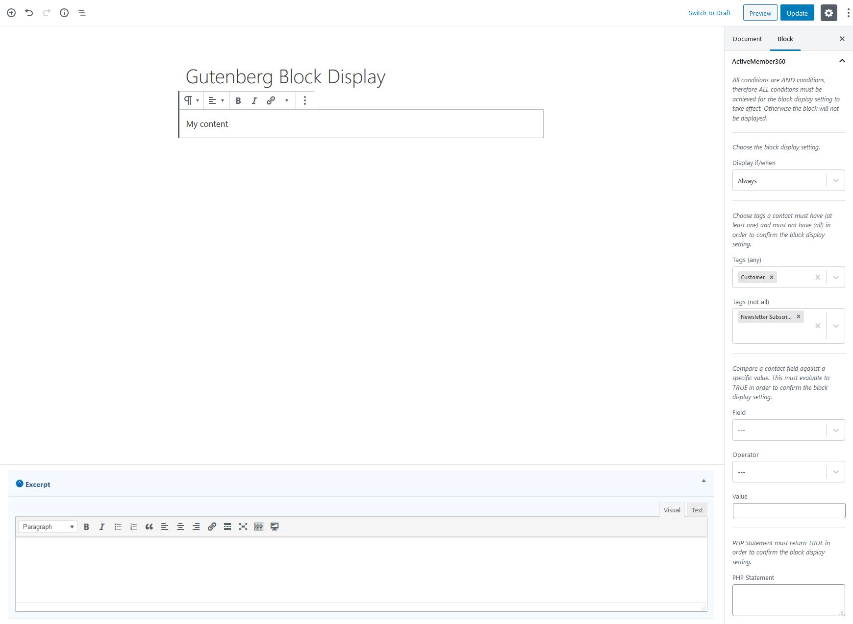 Gutenberg Block Display Settings Example 2