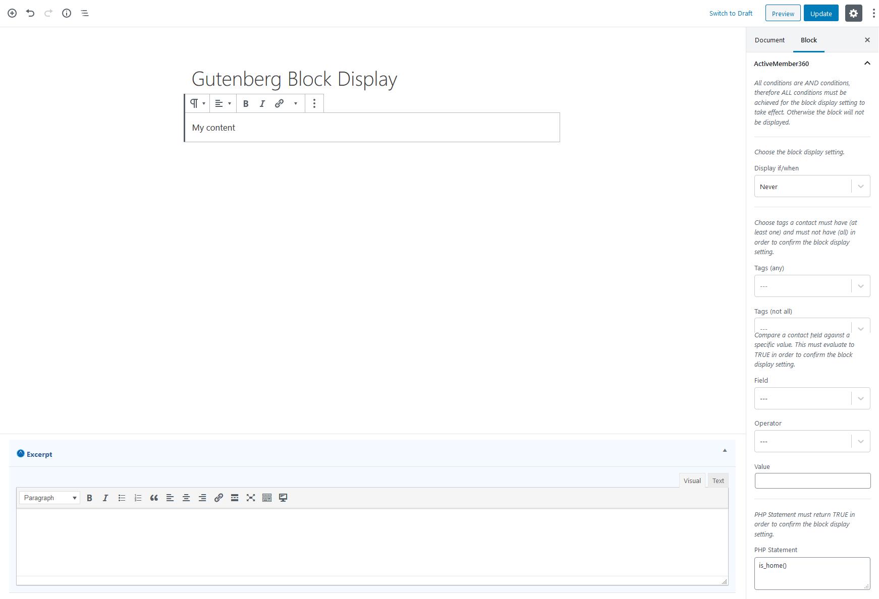 Gutenberg Block Display Settings Example 4