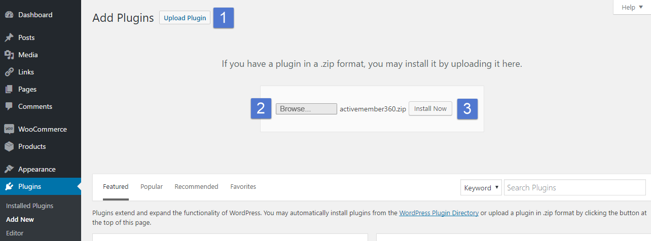 Upload and install plugin