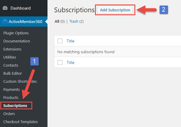 Payment Extensions Create a Subscription Step 1