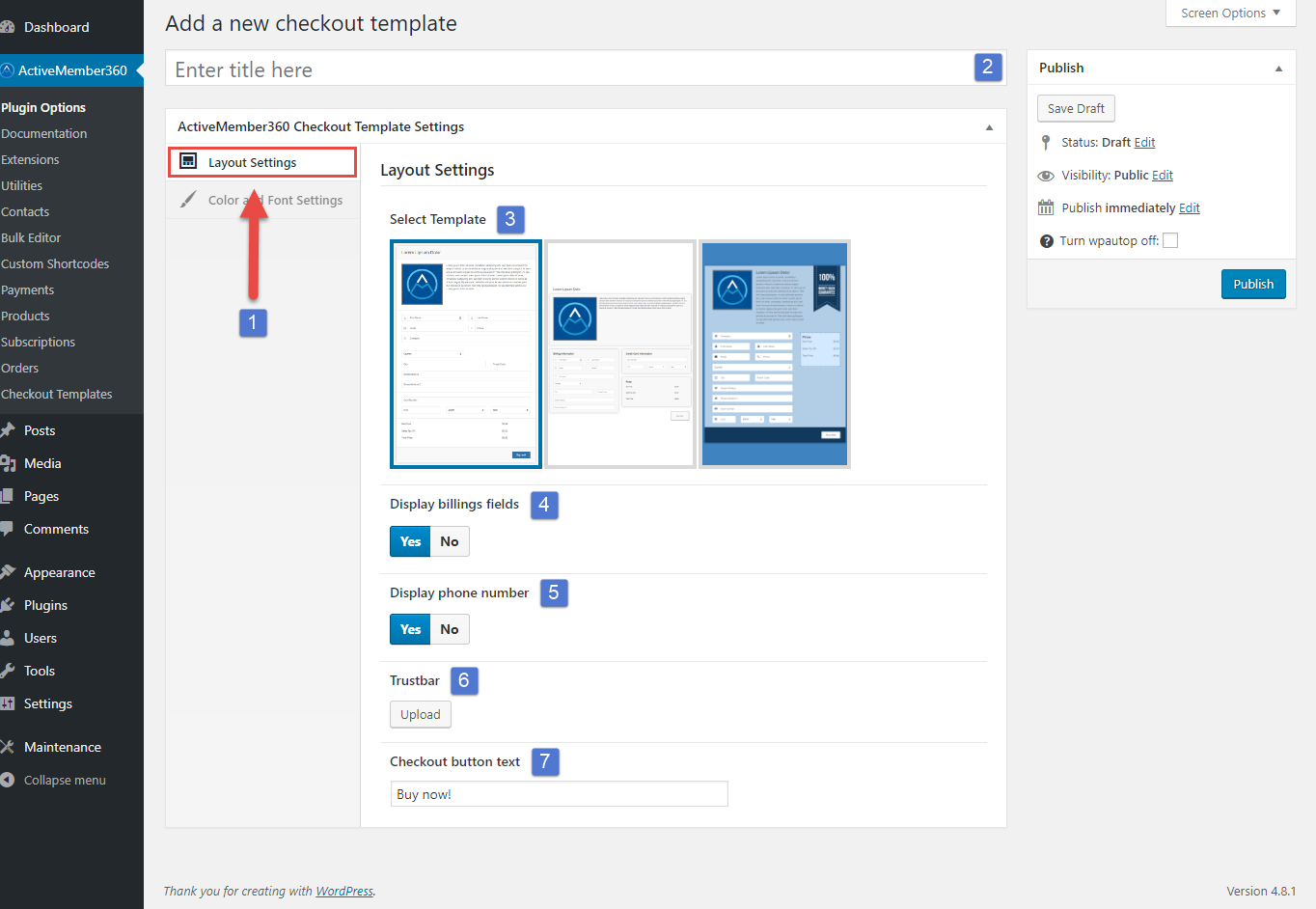Payments Extension Create a Checkout Template Step 2