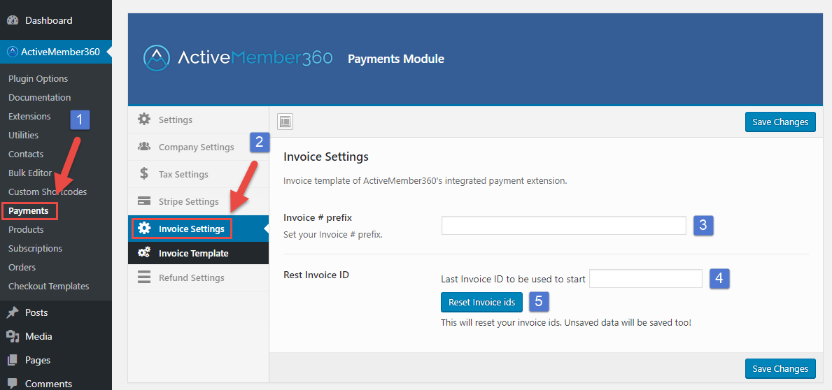 Payments Extension Invoice Settings