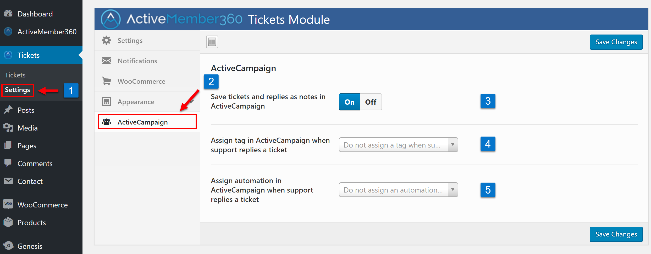 Tickets Extension ActiveCampaign Settings