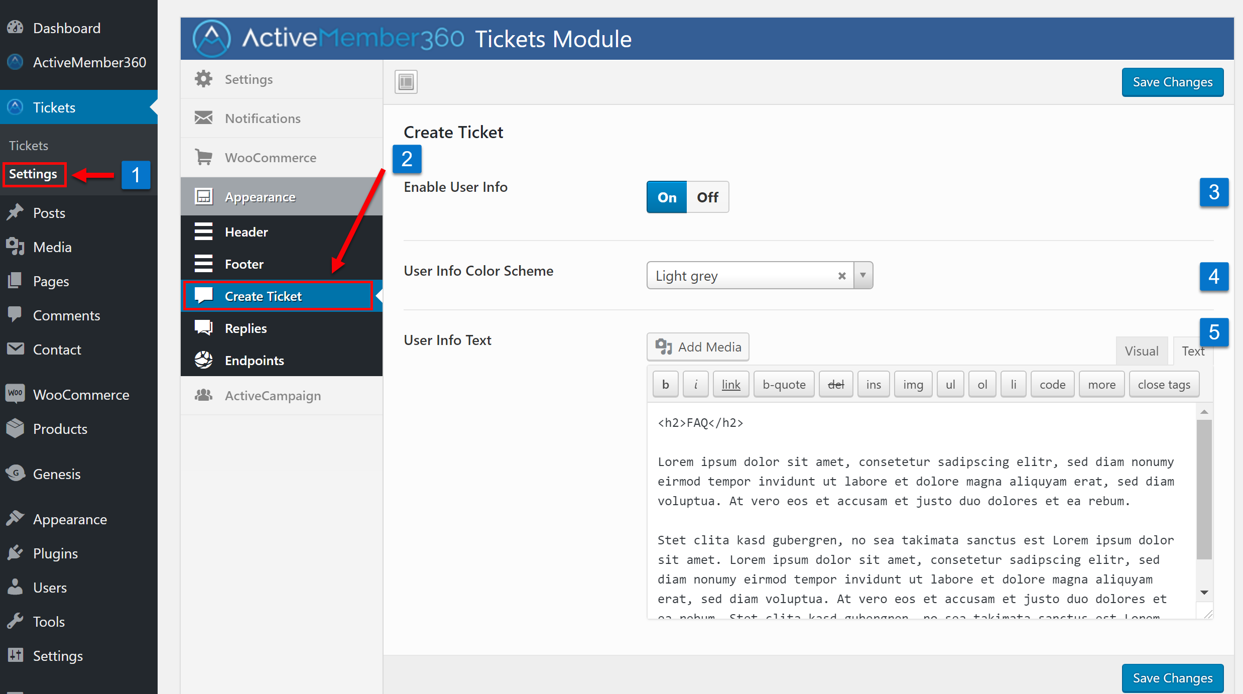 Tickets Extension Appearance Create Ticket Settings