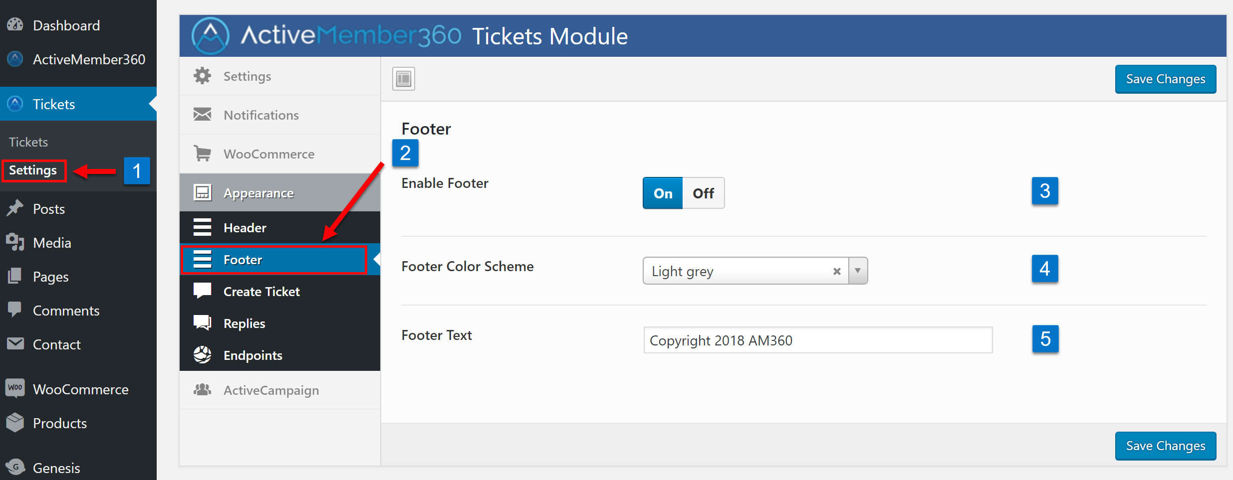Tickets Extension Appearance Footer Settings