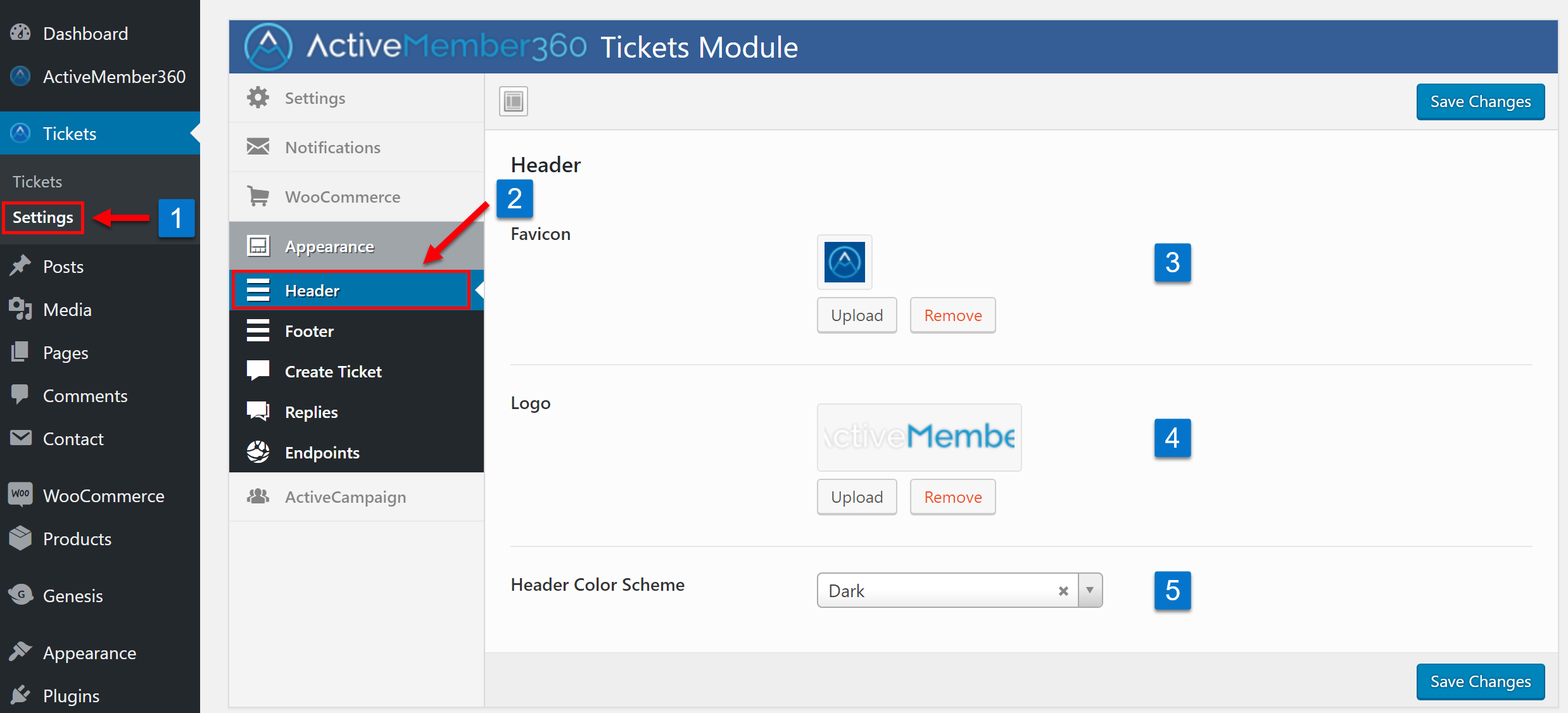 Tickets Extension Appearance Header Settings