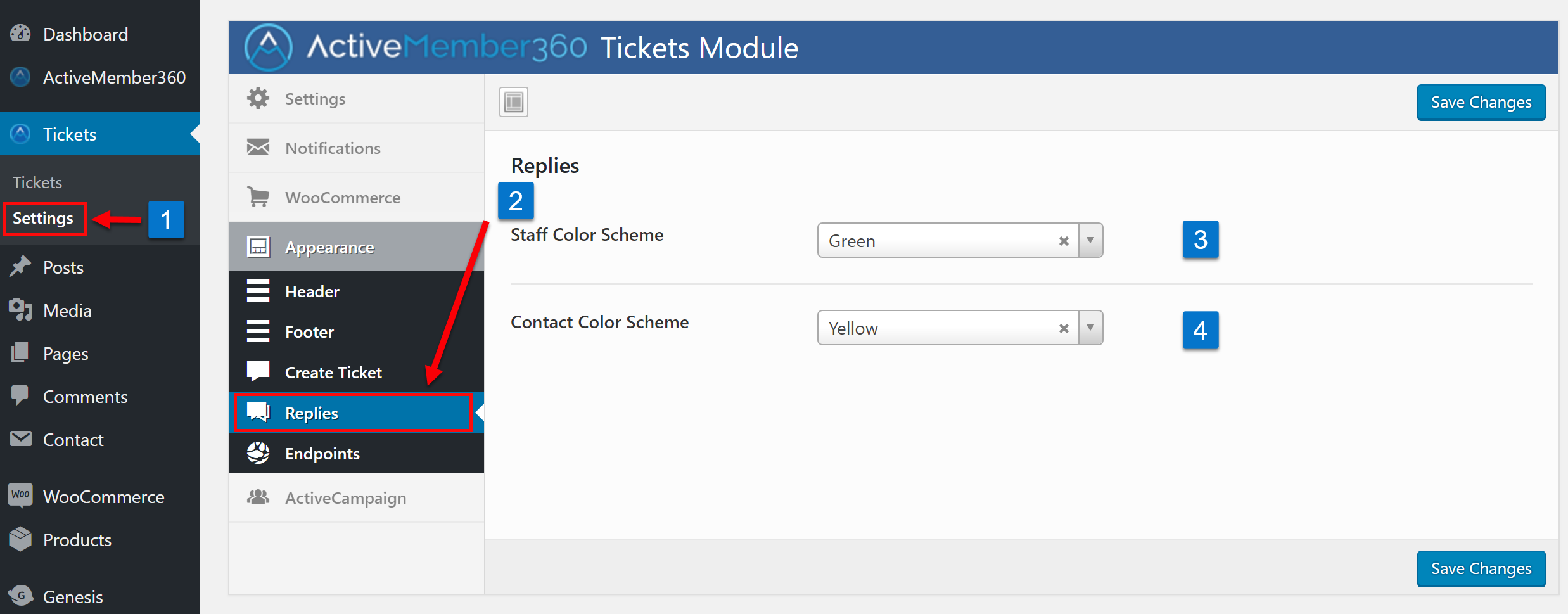 Tickets Extension Appearance Replies Settings