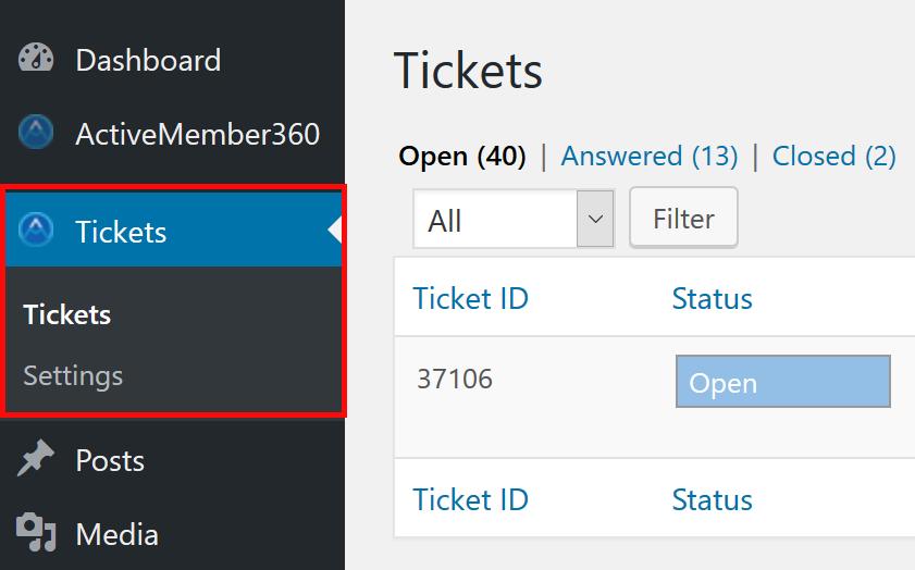 New Tickets Extension menu items