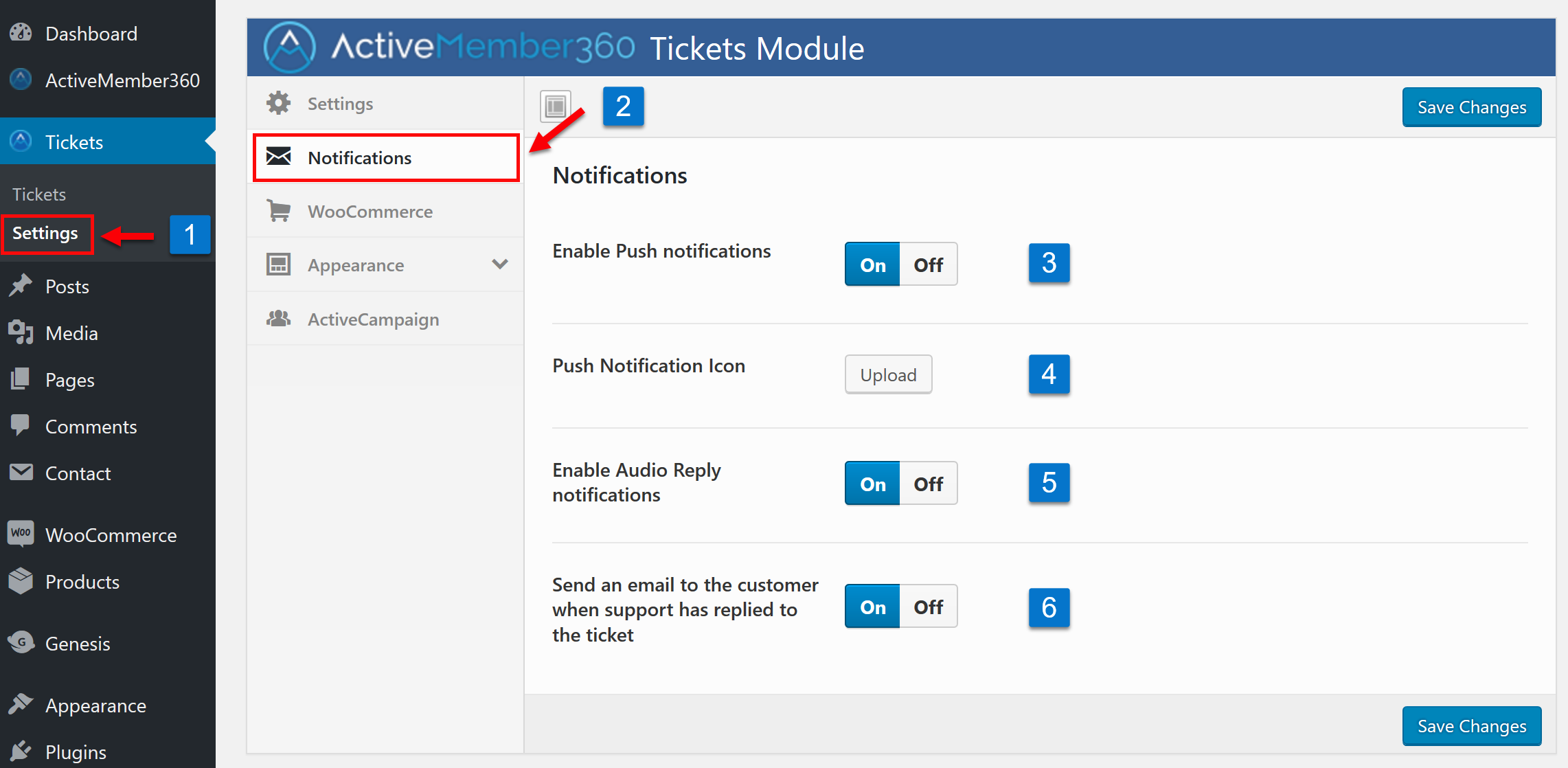 Tickets Extension Notification Settings