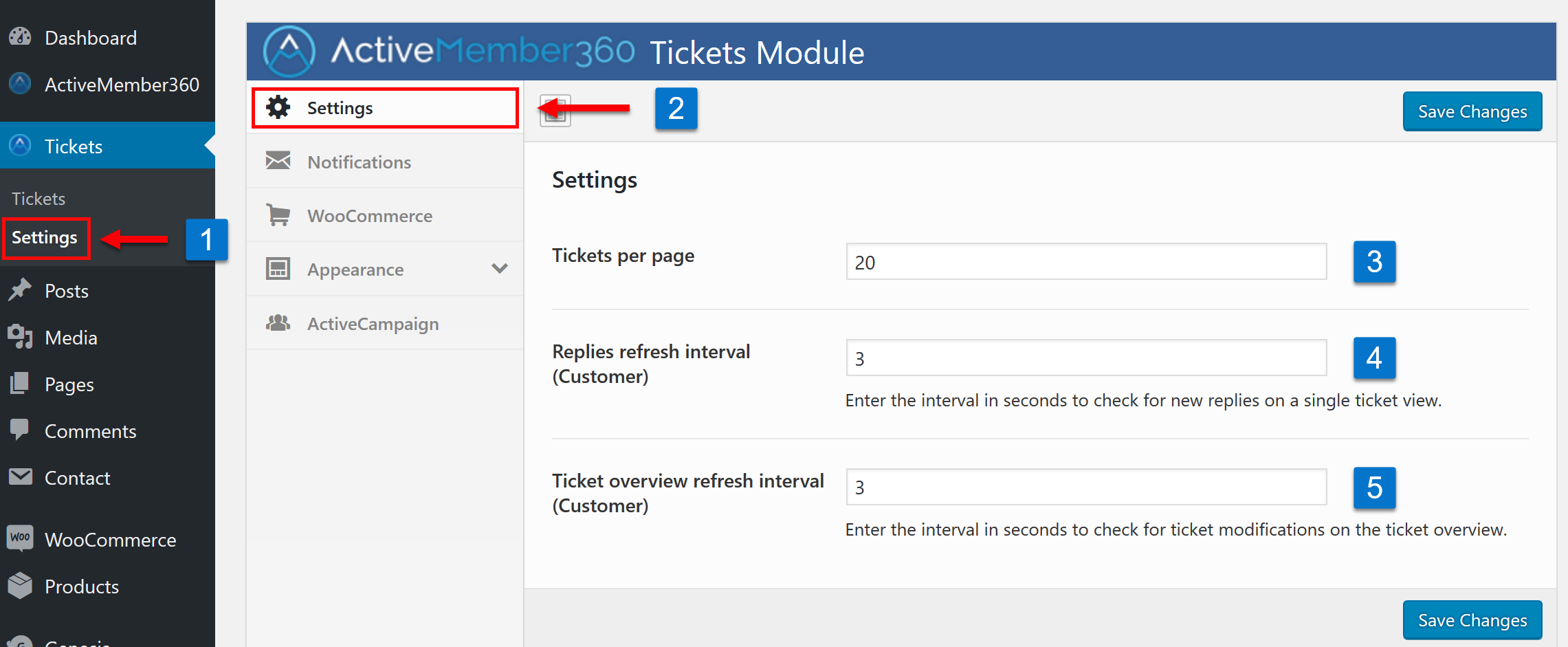 Tickets Extension Settings