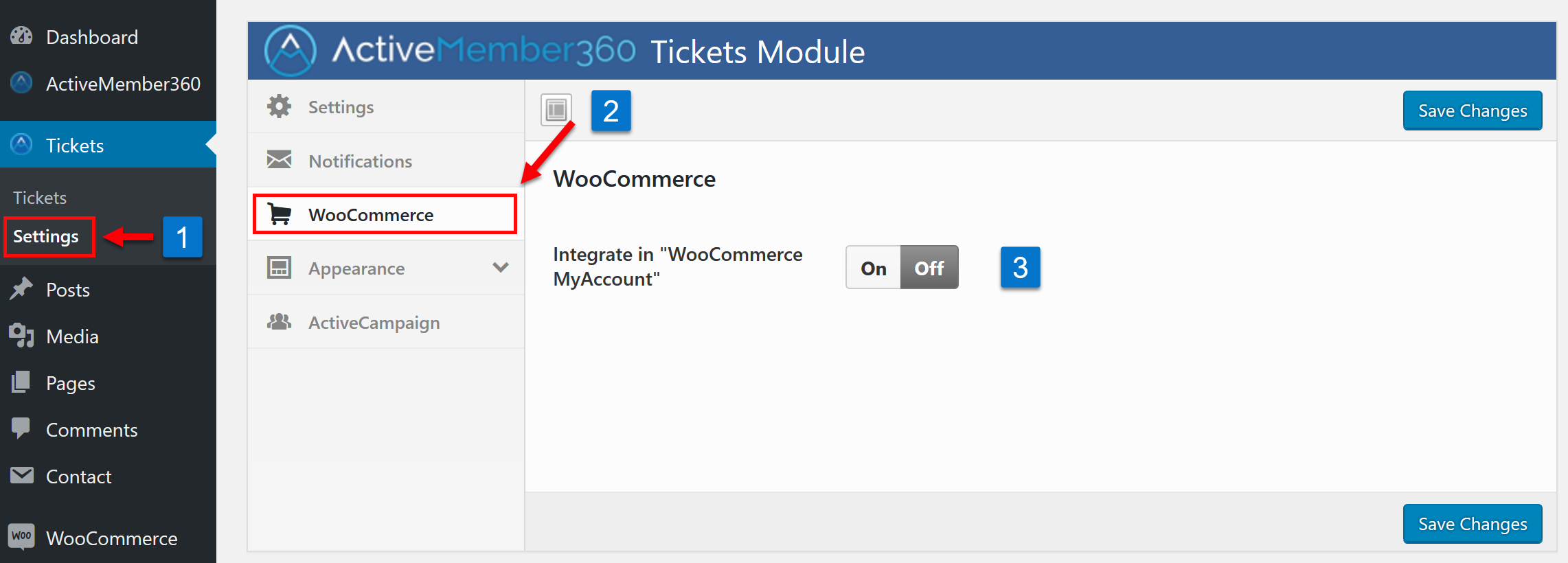 Tickets Extension WooCommerce Settings